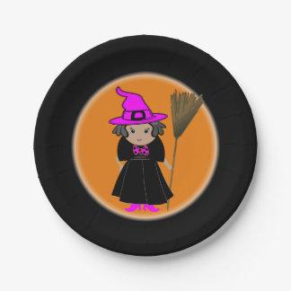 Placas de papel temáticas de Halloween de la bruja Plato De Papel