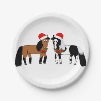 Placas del caballo del navidad plato de papel
