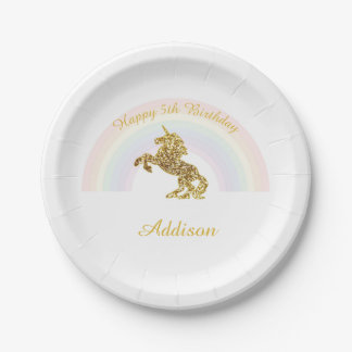 Placas del unicornio para los cumpleaños plato de papel