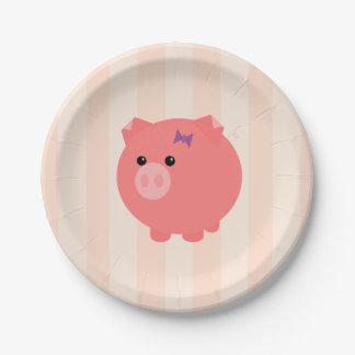 Placas rechonchas del cumpleaños del cerdo plato de papel