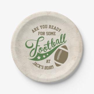 Placas temáticas del fiesta del fútbol plato de papel