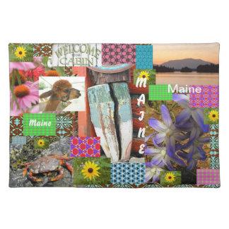 Placemats del collage del algodón de Maine Manteles