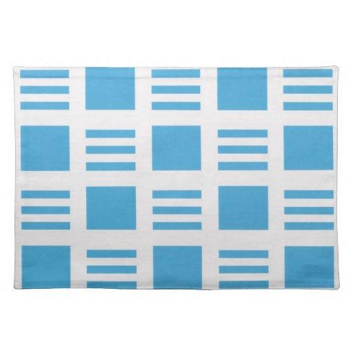 Placemats rayados azules claros y blancos mantel