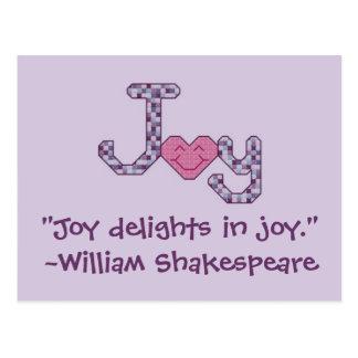 """""""Placeres de la alegría en alegría."""" ~ William Sha Postales"""