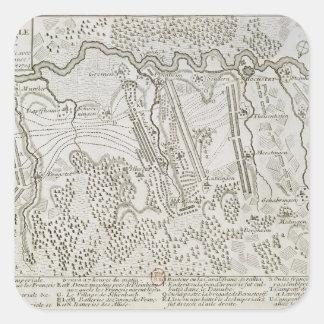 Plan de la batalla de Blenheim entre el ejército Calcomanías Cuadradass Personalizadas