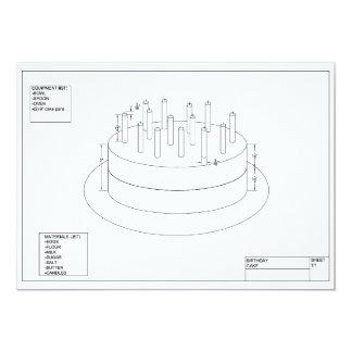 Plan de la torta de cumpleaños invitación 12,7 x 17,8 cm