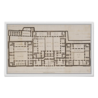 Plan de tierra antiguo de la prisión Londres de Ne Póster