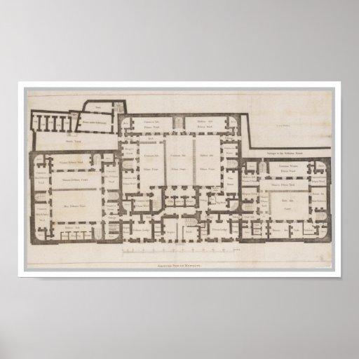 Plan de tierra antiguo de la prisión Londres de Ne Posters