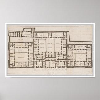 Plan de tierra antiguo de la prisión Londres de Póster