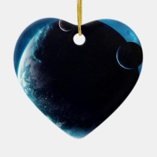 Planeta con las lunas adorno de cerámica en forma de corazón