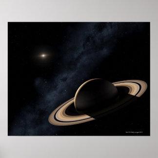 Planeta de Saturn en la Sistema Solar, primer Póster