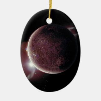 planeta rojo en el universo con aureola y adorno de cerámica