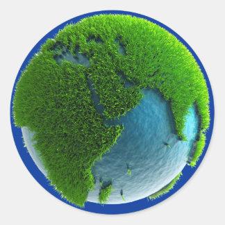 Planeta Tierra hecho de agua y hierba - M1 Etiqueta Redonda