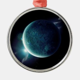 planeta verde en el universo con aureola y adorno de cerámica