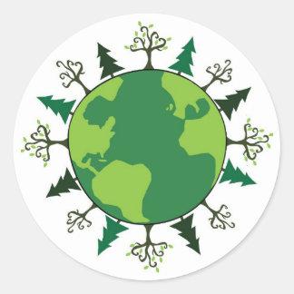 Planeta verde pegatina redonda
