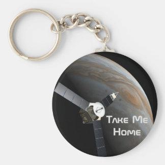 Planeta y punta de prueba del espacio exterior llavero redondo tipo chapa