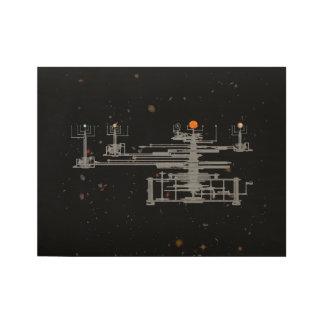 Planetario antiguo en espacio póster de madera