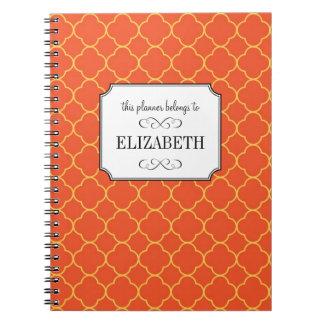 Planificador anaranjado del boda del modelo del tr libros de apuntes