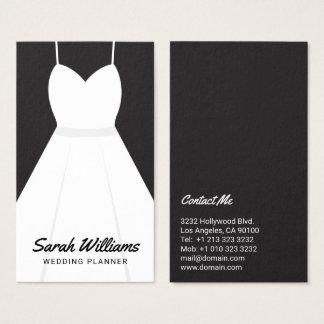 Planificador blanco y negro elegante del boda del tarjeta de visita