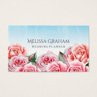 Planificador color de rosa del boda del cielo tarjeta de negocios