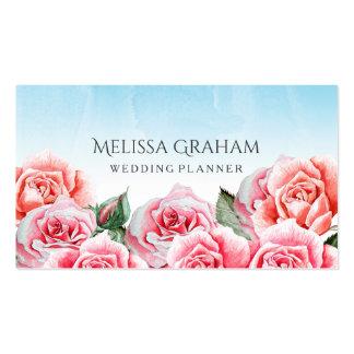 Planificador color de rosa del boda del cielo tarjetas de visita