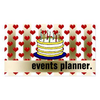 Planificador de acontecimientos rojo de la torta d plantillas de tarjetas de visita
