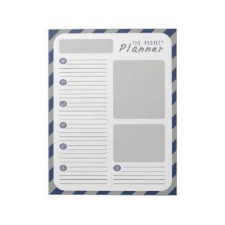 Planificador de proyecto semanal - azul y gris bloc de notas