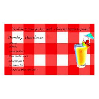 Planificador del camarero o del fiesta tarjetas de visita