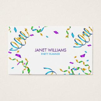 Planificador del fiesta del confeti tarjeta de visita