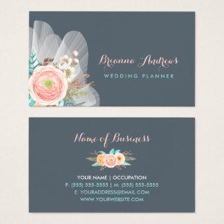 Planificador elegante femenino del boda del ramo tarjeta de visita