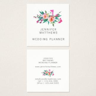 Planificador floral del boda de la acuarela tarjeta de visita cuadrada