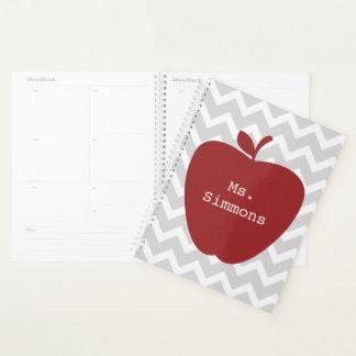 Planificador gris rojo del profesor de Apple