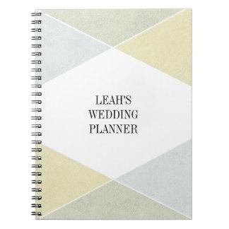 Planificador industrial del boda del oro de la libreta