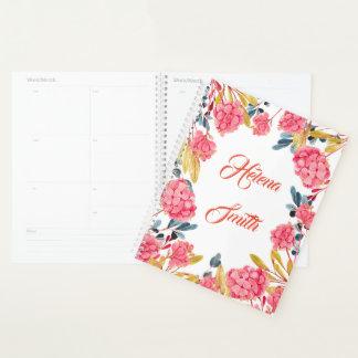 Planificador romántico femenino floral de