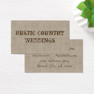 Planificador rústico del boda del país tarjeta de visita