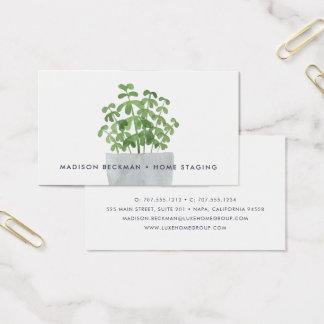 Planta de la acuarela tarjeta de visita