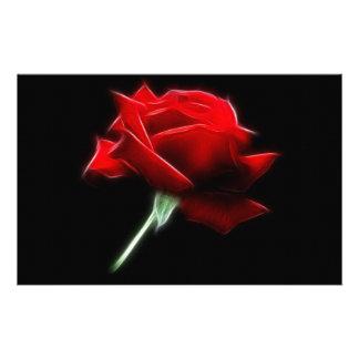 Planta de la flor del rosa rojo papeleria personalizada