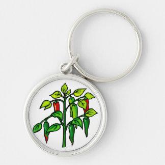 Planta del chile muchas pimientas gráficas llavero personalizado