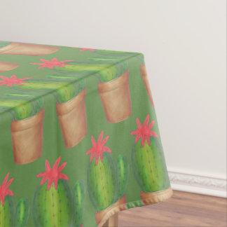 Planta Potted del cactus de la flor verde espinosa Mantel