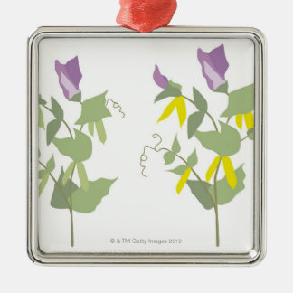 Plantas de guisante florecientes adorno navideño cuadrado de metal