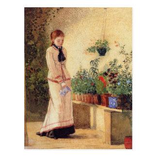 Plantas de riego del chica de Winslow Homer Postal