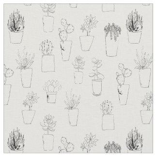 Plantas y cactus suculentos en tela de los potes