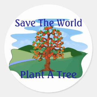 Plante un árbol pegatina redonda