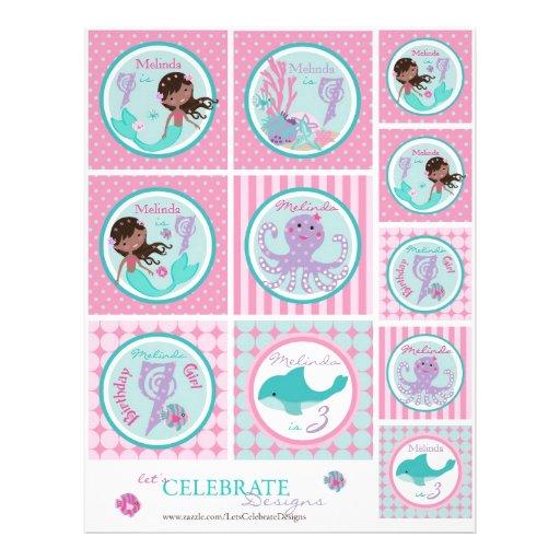 Plantilla AA7 del primero de little mermaid Tarjetones