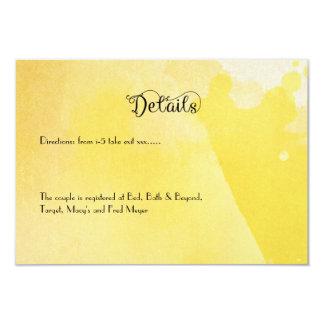 Plantilla amarilla de la tarjeta de detalles del invitación 8,9 x 12,7 cm