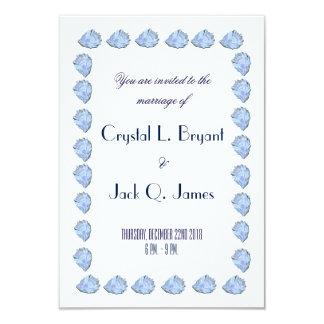 Plantilla azul del boda de la ostra invitación 8,9 x 12,7 cm