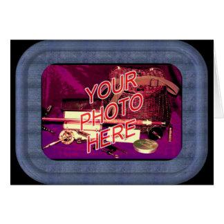 Plantilla azul del marco del dril de algodón tarjeta de felicitación