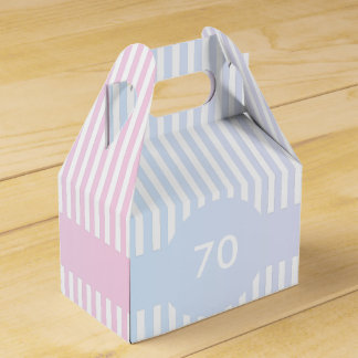 Plantilla azul y rosada de las rayas caja para regalos