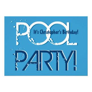 Plantilla blanca azul de la fiesta en la piscina d invitaciones personales