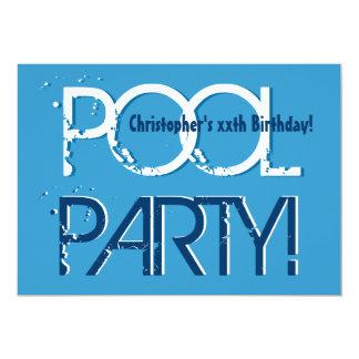 Plantilla blanca azul de la fiesta en la piscina invitación 12,7 x 17,8 cm